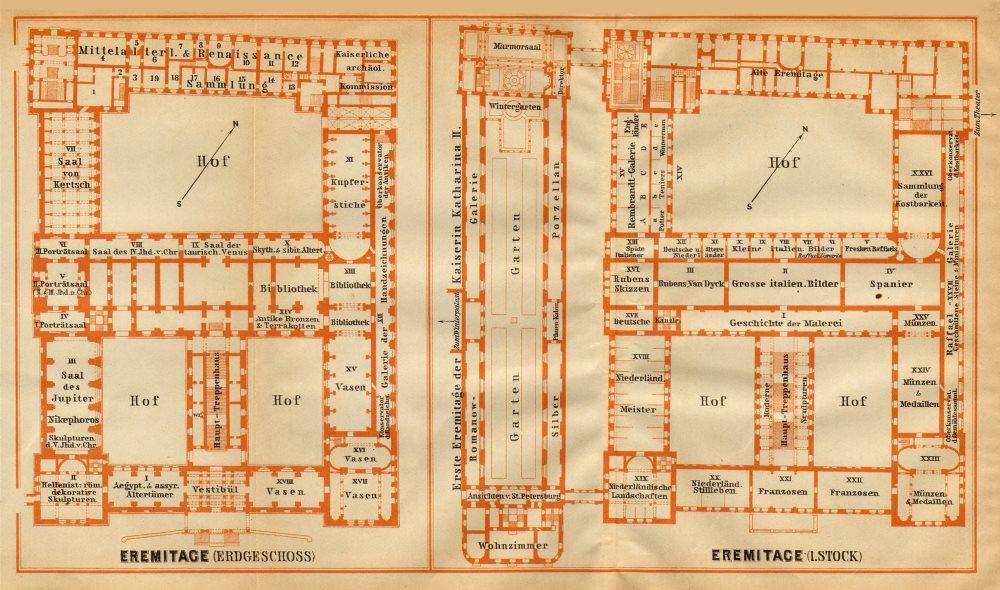 Associate Product Hermitage, St Petersburg. Ground/floor plan. Russia. BAEDEKER 1912 old map