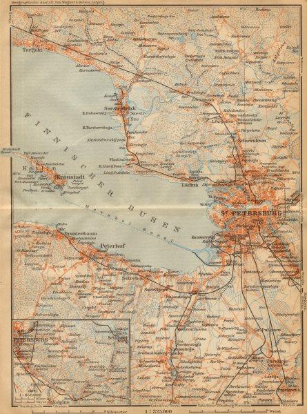 Associate Product St. Petersburg environs. Kronstadt Peterhof Russia. BAEDEKER 1912 old map