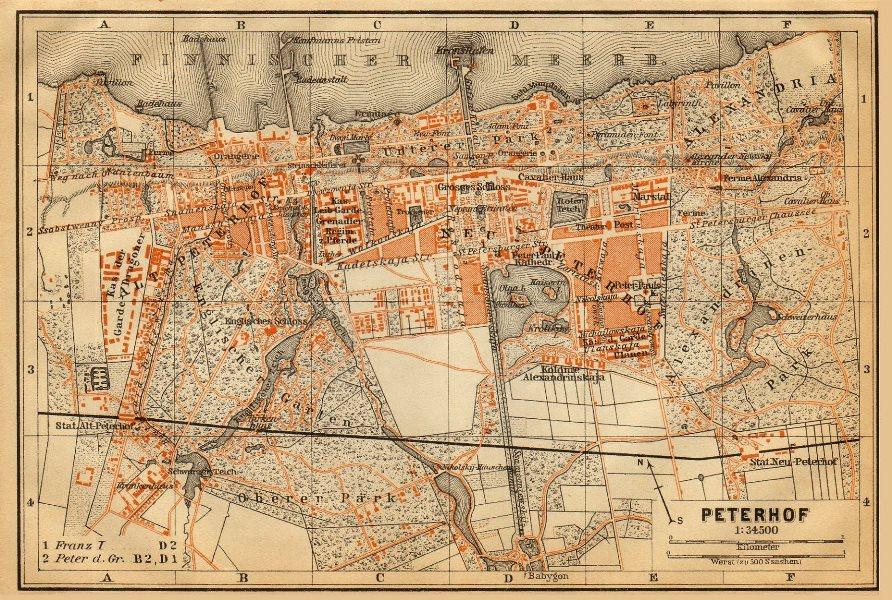 Associate Product Peterhof Palace, Petergof, St Petersburg. Russia. BAEDEKER 1912 old map