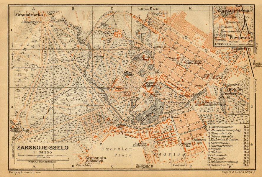 Associate Product Pushkin, St. Petersburg (Tsarskoye Selo). Russia. BAEDEKER 1912 old map