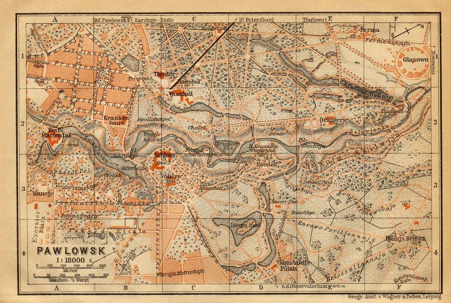 Pavlovsk, Pushkinsky District, St Petersburg. Russia. BAEDEKER 1912 old map
