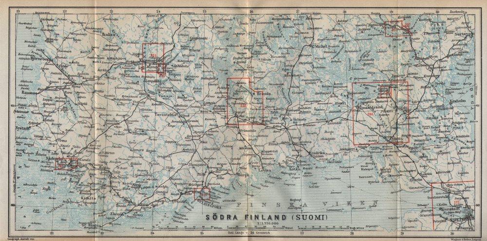 Associate Product Southern Finland coast. Helsinki Viborg St Petersburg. BAEDEKER 1912 old map