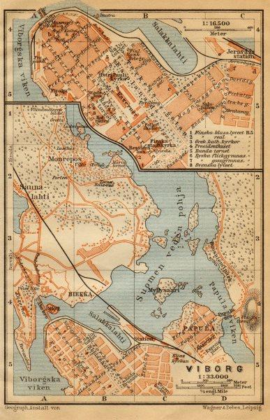 Associate Product Vyborg (Viipuri) town/city plan. Russia. Viborg. BAEDEKER 1912 old antique map