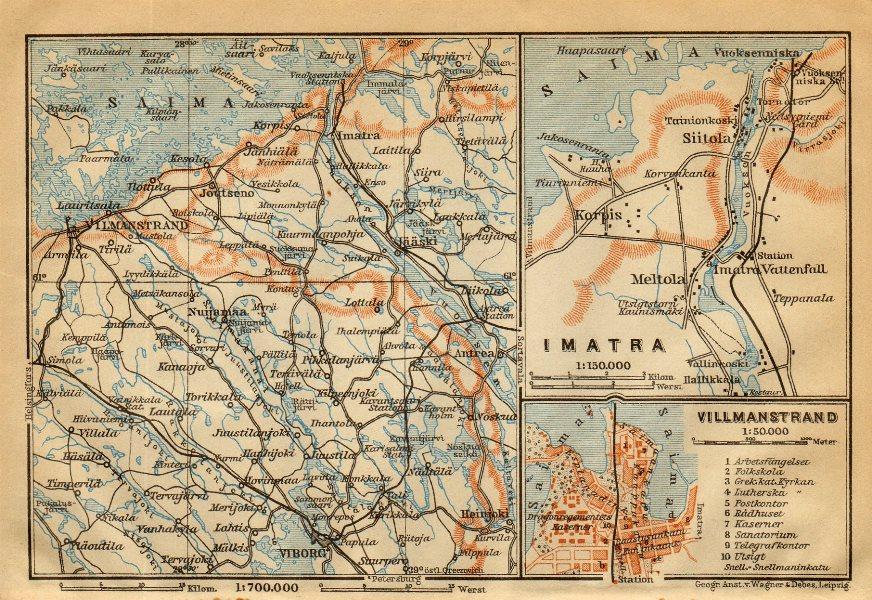 Associate Product Imatra / Lappeenranta (Villmanstrand). Finland / Russia. BAEDEKER 1912 old map