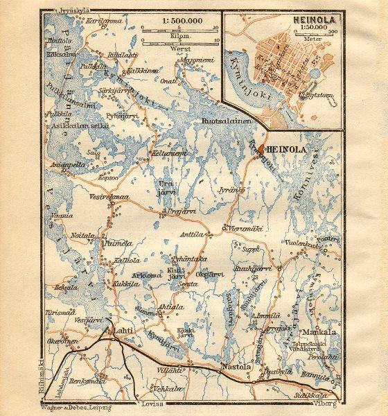 Associate Product Heinola & Päijänne Tavastia, Finland. BAEDEKER 1912 old antique map plan chart
