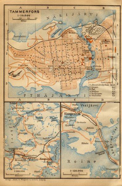 Tampere Tammerfors Town City Plan Kaupunki Kartta Suunnitelma