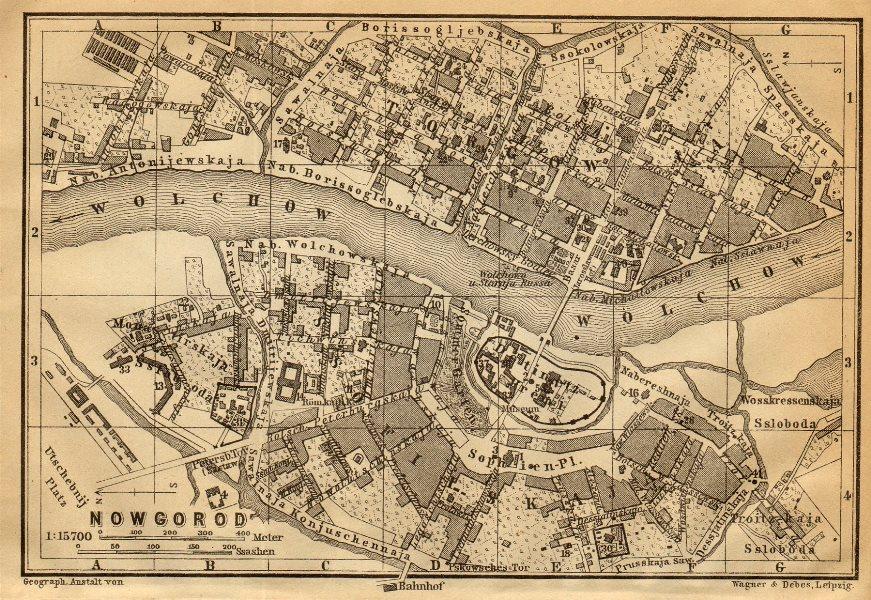 Associate Product Veliky Novgorod town/city plan. Russia. Nowgorod. BAEDEKER 1912 old map