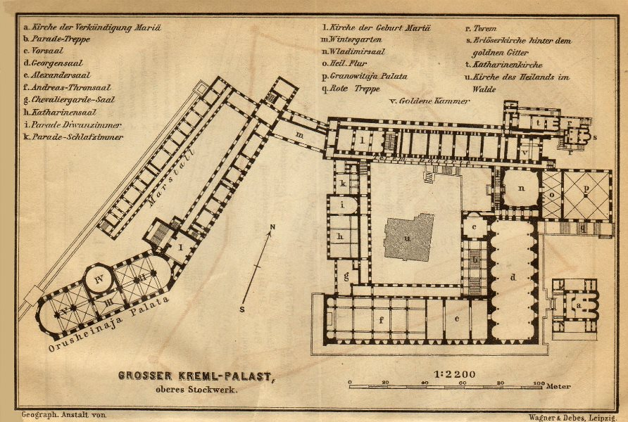 Associate Product Grand Kremlin Palace, Moscow ground/floor plan. Russia. BAEDEKER 1912 old map