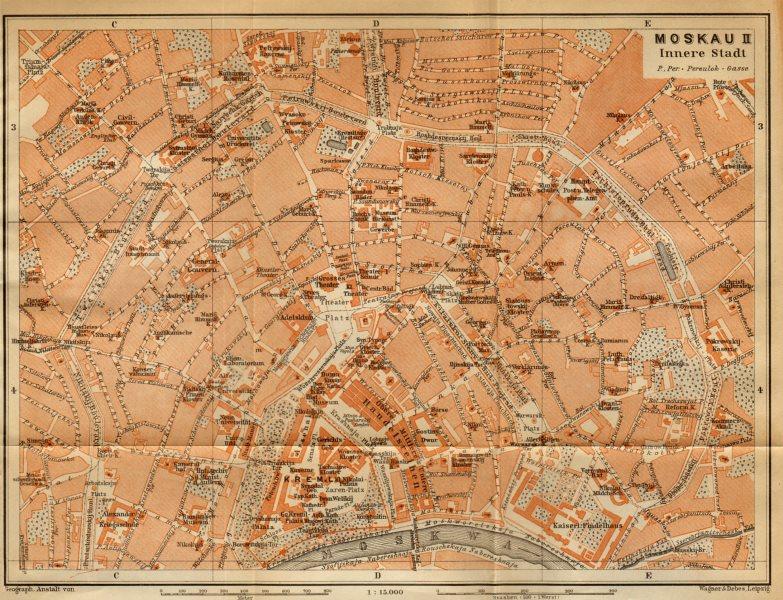Kasan Kazan town//city plan Russia BAEDEKER 1912 old antique map chart