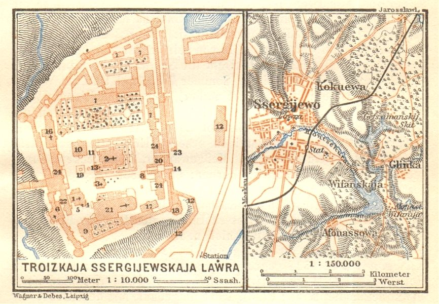 Associate Product Trinity Lavra of St. Sergius Monastery Sergiyev Posad Russia VERY SMALL 1912 map