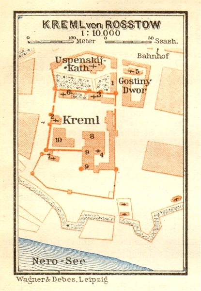 Associate Product Kremlin of Rostov ground plan. Russia. VERY SMALL. BAEDEKER 1912 old map