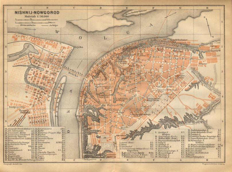 Associate Product Nizhny Novgorod town/city plan. Russia. Nishnij-Nowgorod. BAEDEKER 1912 map