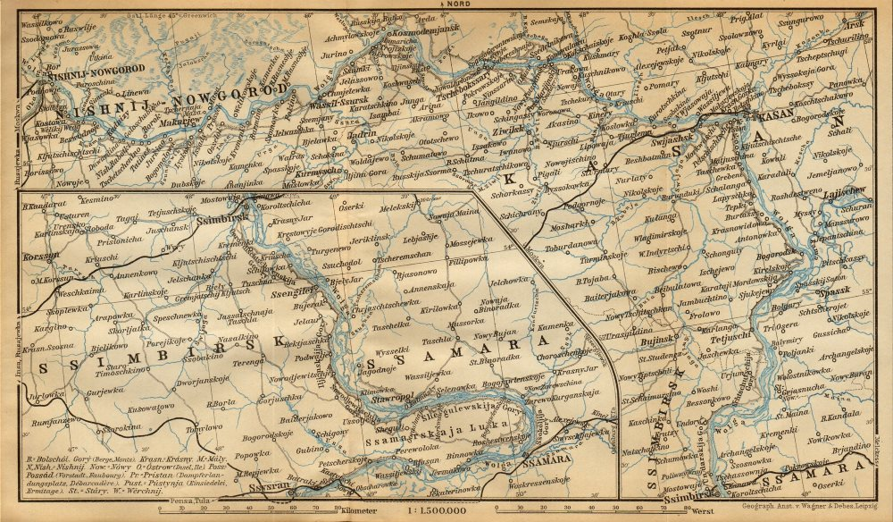 Associate Product Volga River. Nizhny Novgorod - Kazan - Simbirsk - Samara. Russia 1912 old map