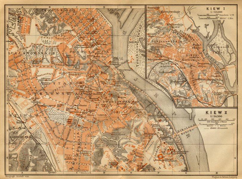 Associate Product Kiev town/city plan. Ukraine. Kiew. BAEDEKER 1912 old antique map chart