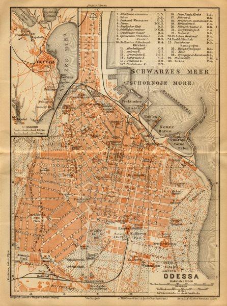 Associate Product Odessa town/city plan. Ukraine. BAEDEKER 1912 old antique map chart