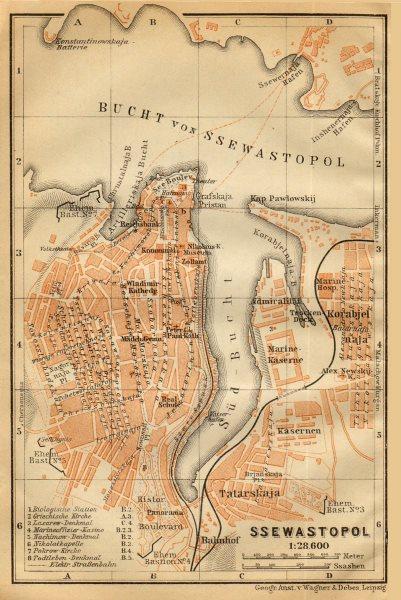 Associate Product Sevastopol/Sebastopol town/city plan. Ukraine. Ssewastopol. BAEDEKER 1912 map