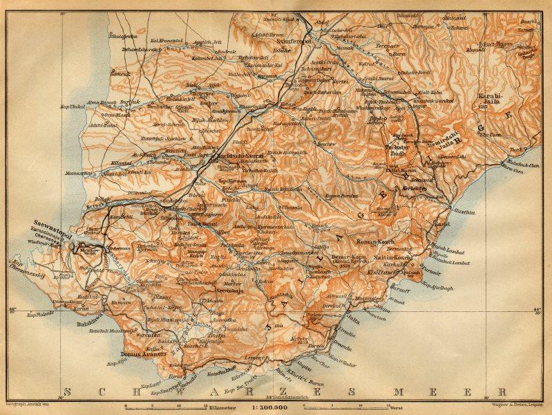 Associate Product Southwest Crimea / Crimean Mountains. Ukraine. BAEDEKER 1912 old antique map