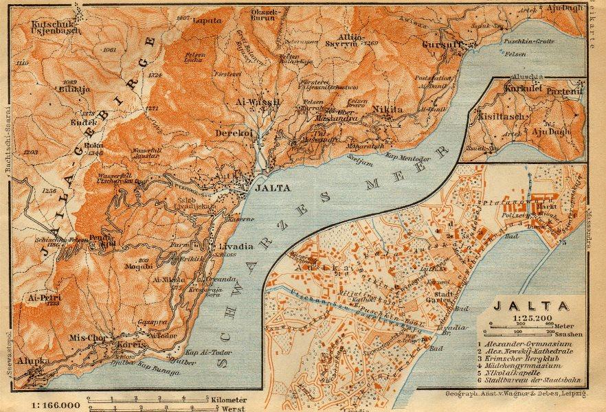 Yalta town/city plan. Ukraine. Jalta. BAEDEKER 1912 old antique map chart