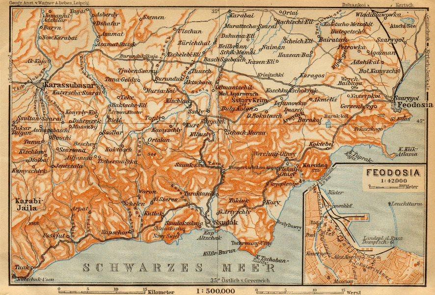 Associate Product Feodosia town/city plan & environs. Ukraine. BAEDEKER 1912 old antique map