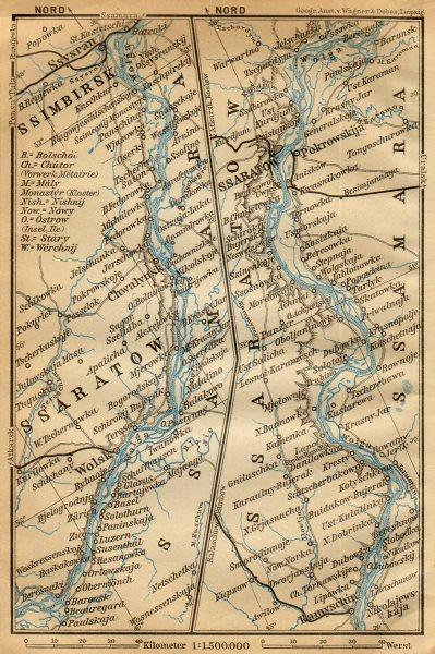 Associate Product Volga River [Kamyshin - Saratov -Volsk - Syzran]. Russia. BAEDEKER 1912 map