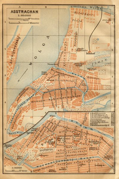 Associate Product Astrakhan town/city plan. Russia. Asstrachan. BAEDEKER 1912 old antique map