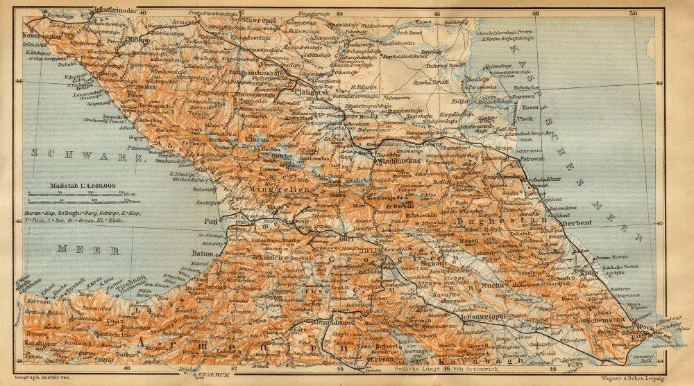 Associate Product Caucasus. Armenia, Georgia, Azerbaijan & Russian South. BAEDEKER 1912 old map