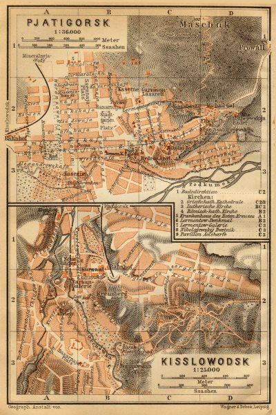 Pyatigorsk / Kislovodsk town/city plan. Russia. Pjatigorsk. BAEDEKER 1912 map