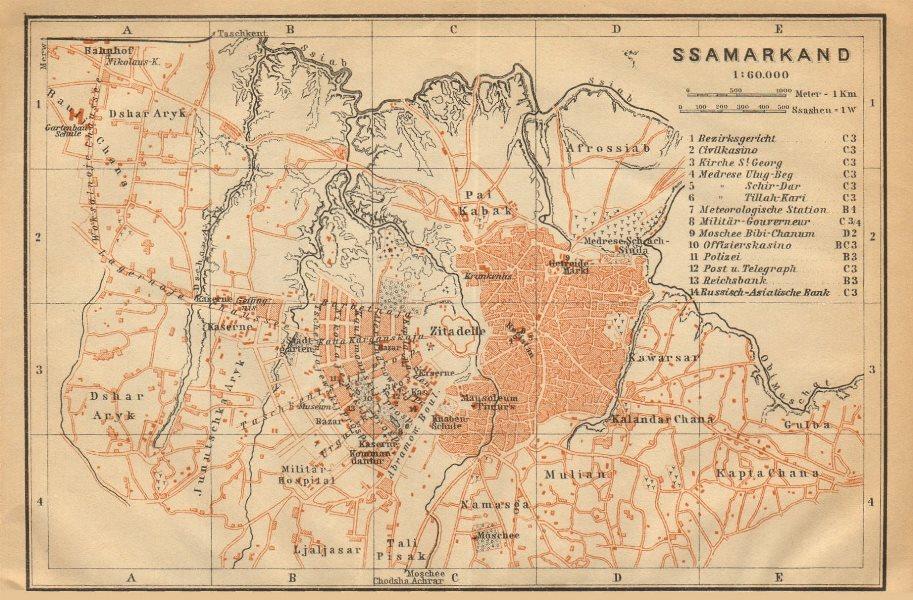 Associate Product Samarkand town/city plan shahar xaritasi rejasi. Uzbekistan. BAEDEKER 1912 map