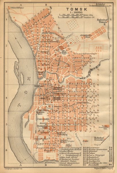 Associate Product Tomsk town/city plan. Russia. BAEDEKER 1912 old antique vintage map chart