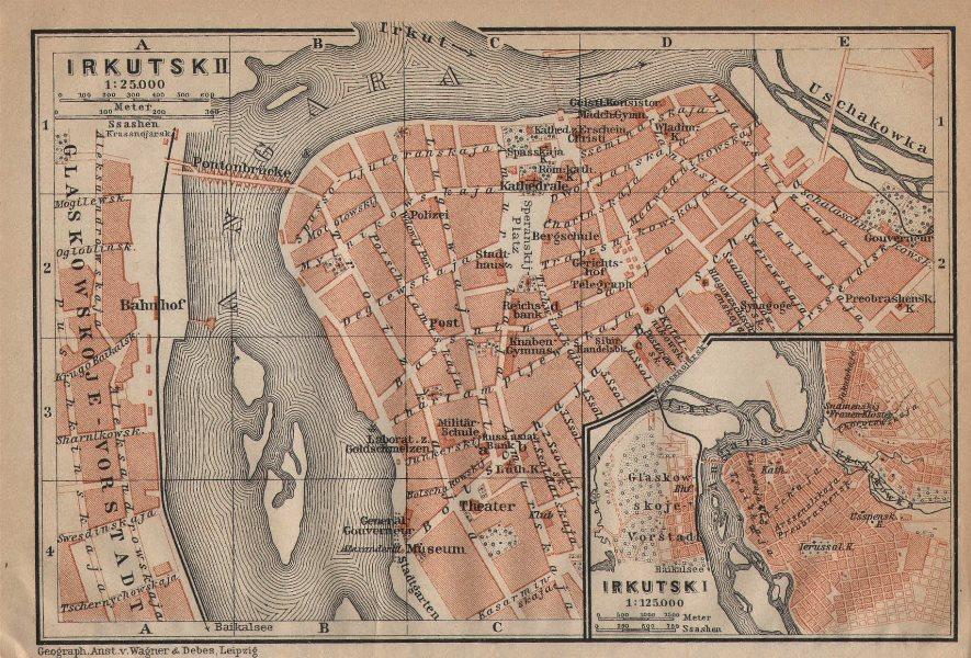 Associate Product Irkutsk town/city plan. Russia. BAEDEKER 1912 old antique map chart