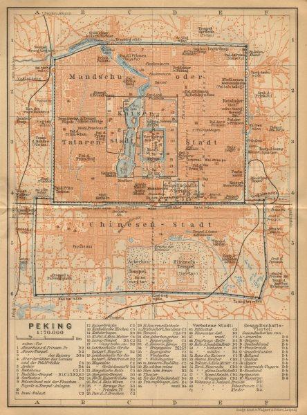 Associate Product Peking Beijing town/city plan. China. BAEDEKER 1912 old antique map chart