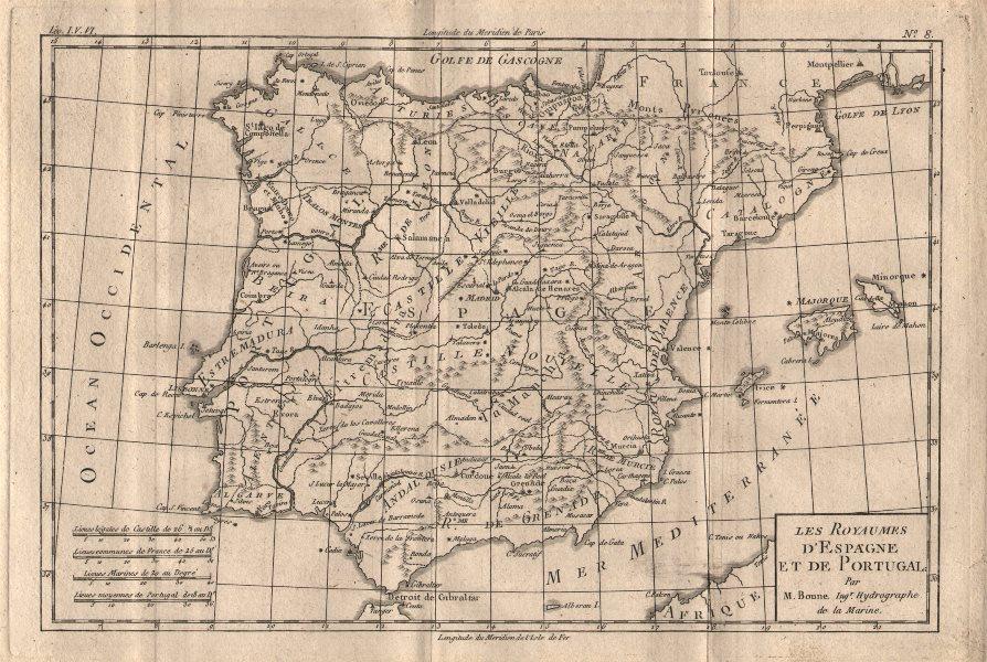 """Associate Product """"Les Royaumes d'Espagne et de Portugal"""". Iberia Spain Portugal. BONNE 1780 map"""