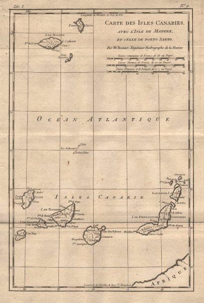 """Associate Product """"Isles Canaries avec l'Isle de Madere et celle de Porto Santo"""". BONNE 1780 map"""