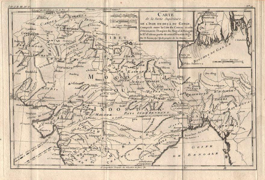 """Associate Product """"Partie Superieure de l'Inde en deca du Gange"""". Northern India. BONNE 1780 map"""