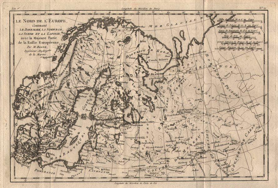 """Associate Product """"Le Nord de l'Europe contenant le Danemark…"""" Scandinavia Russia. BONNE 1780 map"""