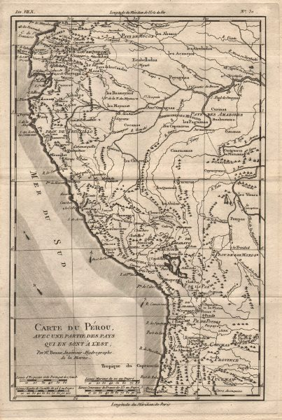"""Associate Product """"Carte du Perou, avec une partie des pays…a l'Est"""". Peru Ecuador. BONNE 1780 map"""