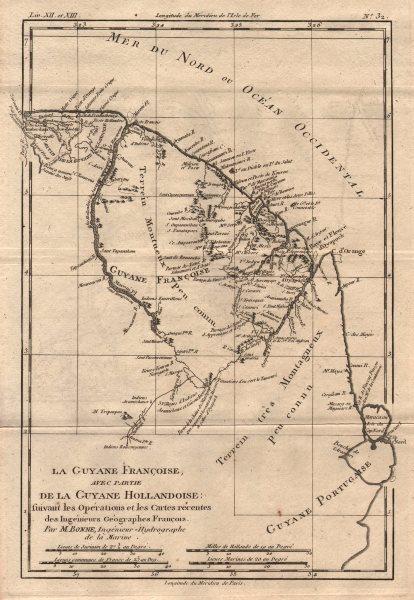 """Associate Product """"La Guyane Françoise, avec partie de la G. Hollandoise"""". Guianas. BONNE 1780 map"""