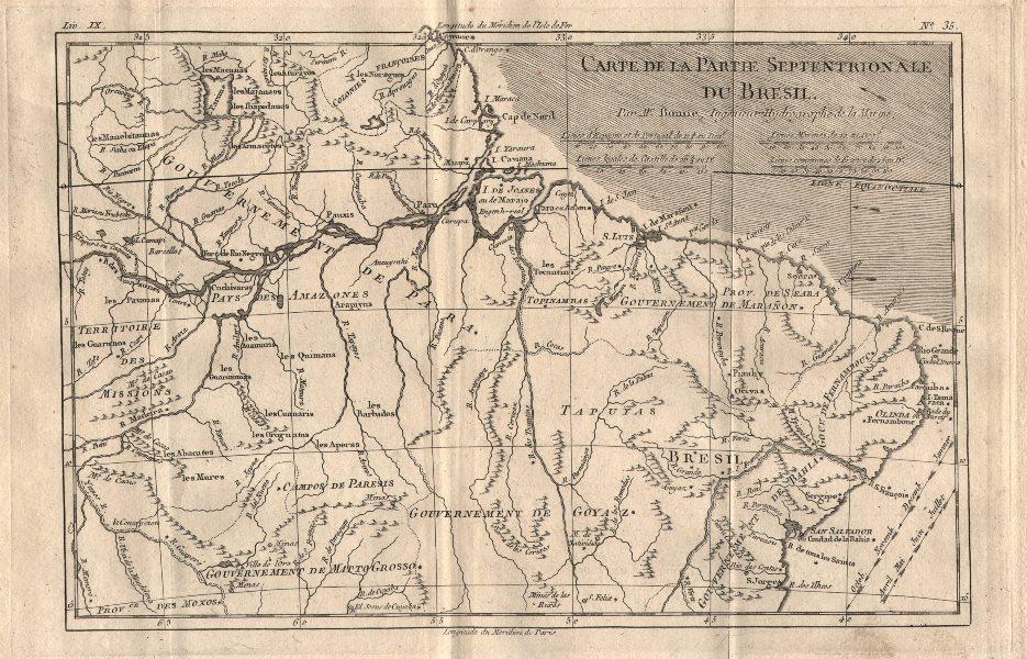 """Associate Product """"Carte de la partie septentrionale du Bresil"""". Northern Brazil. BONNE 1780 map"""