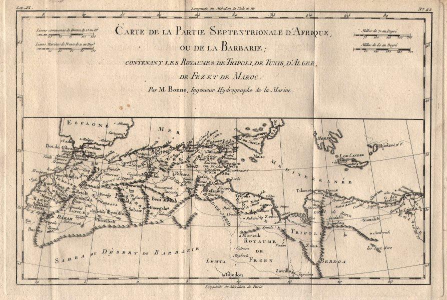 """Associate Product """"Carte de la partie septentrionale d'Afrique, ou de la Barbarie…"""" BONNE 1780 map"""