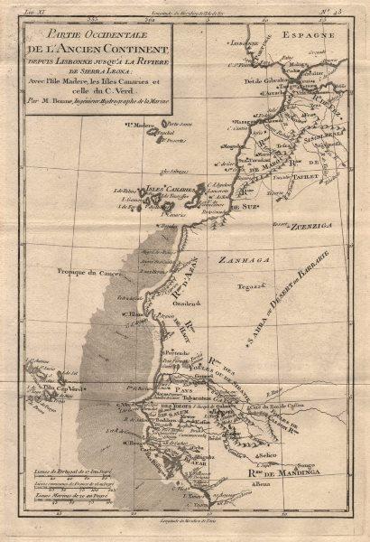 "Associate Product ""Partie Occidentale de l'Ancien Continent…"" W Africa Macaronesia. BONNE 1780 map"