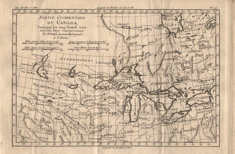 Associate Product Partie Occidentale du Canada [&] les Cinq Grand Lacs… Great Lakes BONNE 1780 map