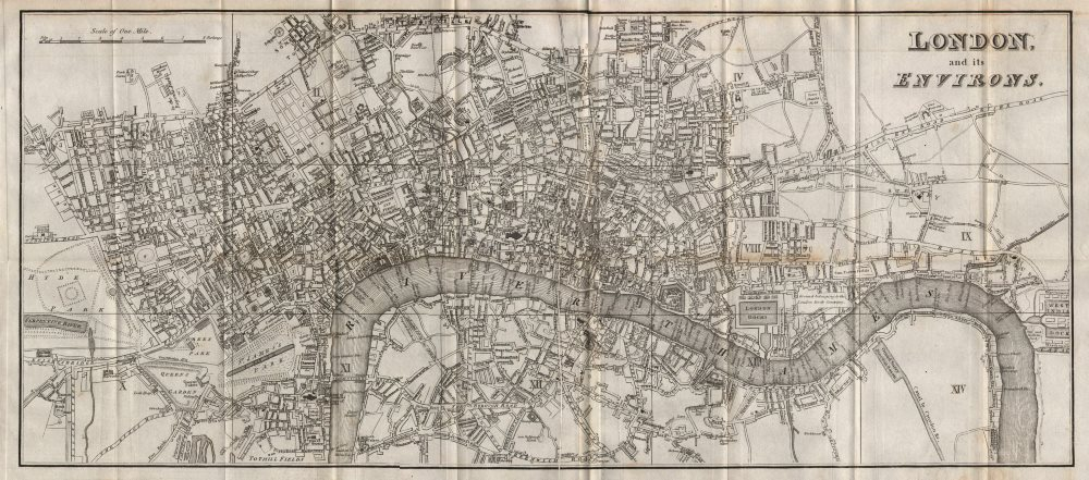 """Associate Product """"London & its environs"""". HUGHSON. Lord's ground in original location 1817 map"""