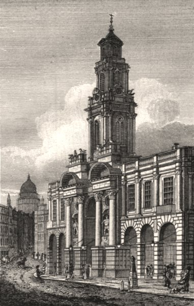 Associate Product The Royal Exchange from Cornhill, London. Antique engraved print 1817