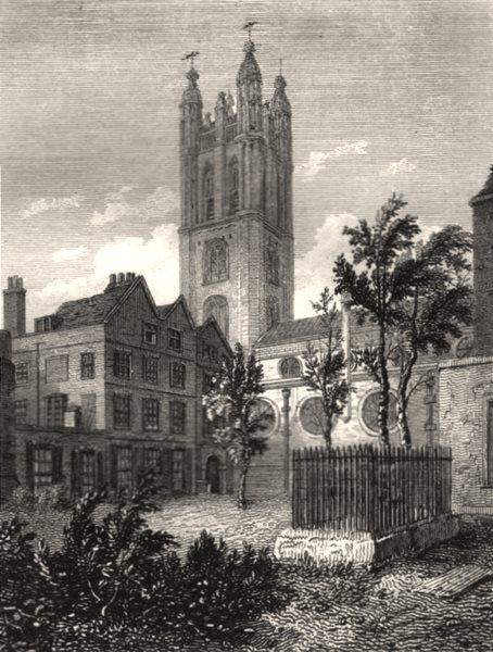 Associate Product St Michael's church, Cornhill, London. Antique engraved print 1817 old