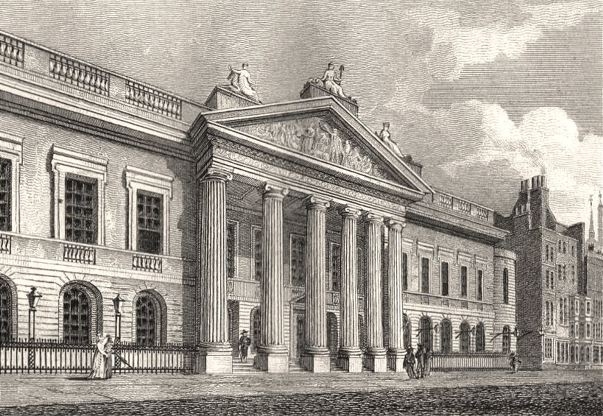Associate Product The East India House, London. Antique engraved print 1817 old