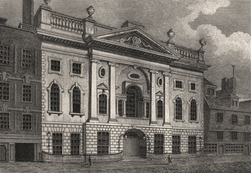 Associate Product Ironmongers' Hall, London. Antique engraved print 1817 old