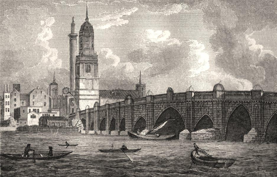 Associate Product London Bridge, London. Antique engraved print 1817 old picture