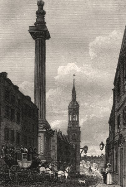 Associate Product The Monument, London. Antique engraved print 1817 old picture