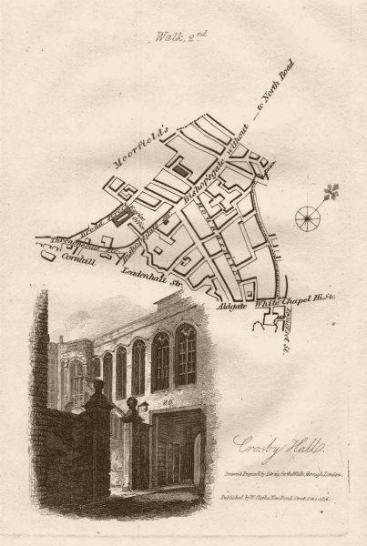 Associate Product City of London Bishopsgate Houndsditch Broad Street EC2/3. Crosby Hall 1817 map