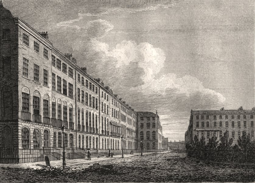 Associate Product Finsbury Square, London. Antique engraved print 1817 old picture